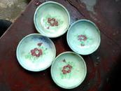 小花酱油盆4个