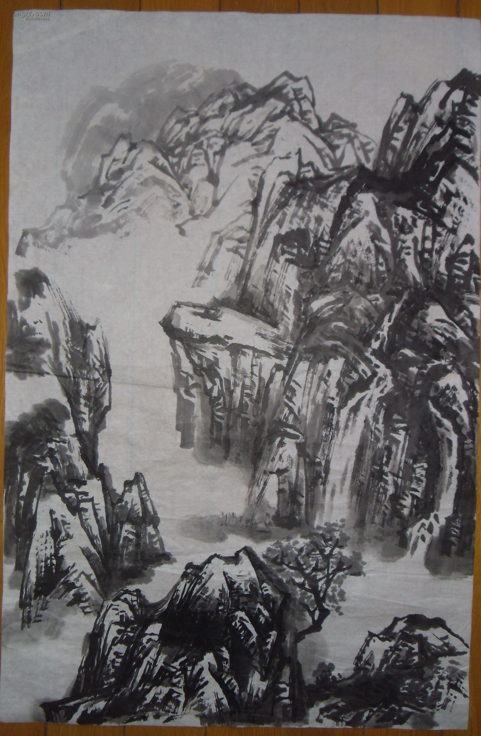 手绘真迹国画:无款山水画140816-26图片