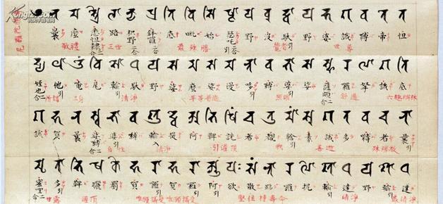 《佛顶尊胜陀罗尼》,悉昙梵文书法,梵汉对照,汉字.图片