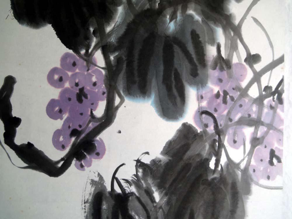 【图】安徽著名老书画家【周彬】四尺整张----葡萄图片