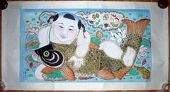 上世纪50年代杨柳青和平画业社年画 /木版画手绘, 138.5*73.5cm,戴廉增