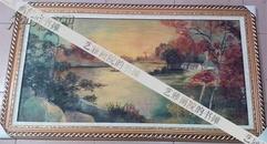 中国近代美术的先行者  中国第一代油画家【朱士杰  】风景 油画  不带框