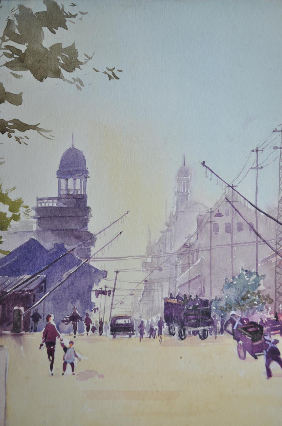 【金雪尘】50年代 上海街景写生 水彩画 保真图片