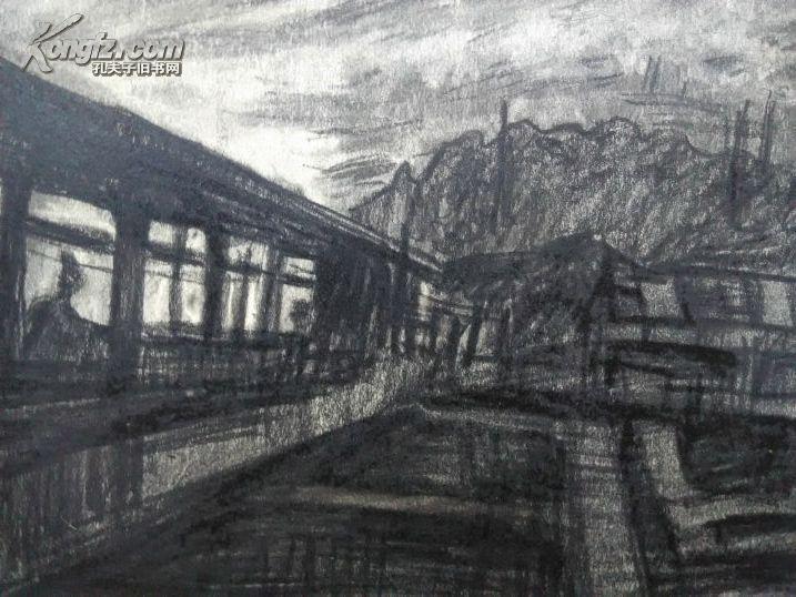 *fwpy0,一幅硬紙板風景老素描原作《郊外》,畫家素描功底超好,刻畫