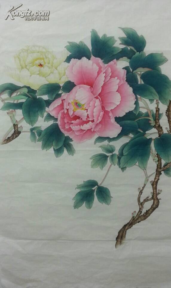 王少卿工笔花鸟画之牡丹-异彩-六尺横幅-八平尺图片