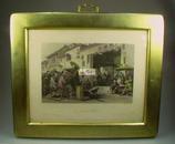 [金粉边框]1843年手工上色铜版画/ Allom, 阿罗姆, 九月九放风筝,满大人家宴,肇庆府,剃头挑子