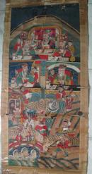 清代道教繪畫珍品:道教繪畫十王之東十王之一 道教人物多 繪畫精美[內框直徑65x150cm]