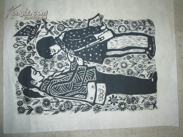 黑白木刻版画13图片