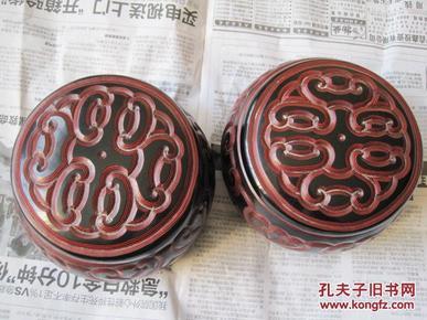 日本回流,木胎雕漆《剔犀围棋罐一对》