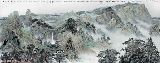 泰山画家张伟明的泰山画(印制长卷)图片