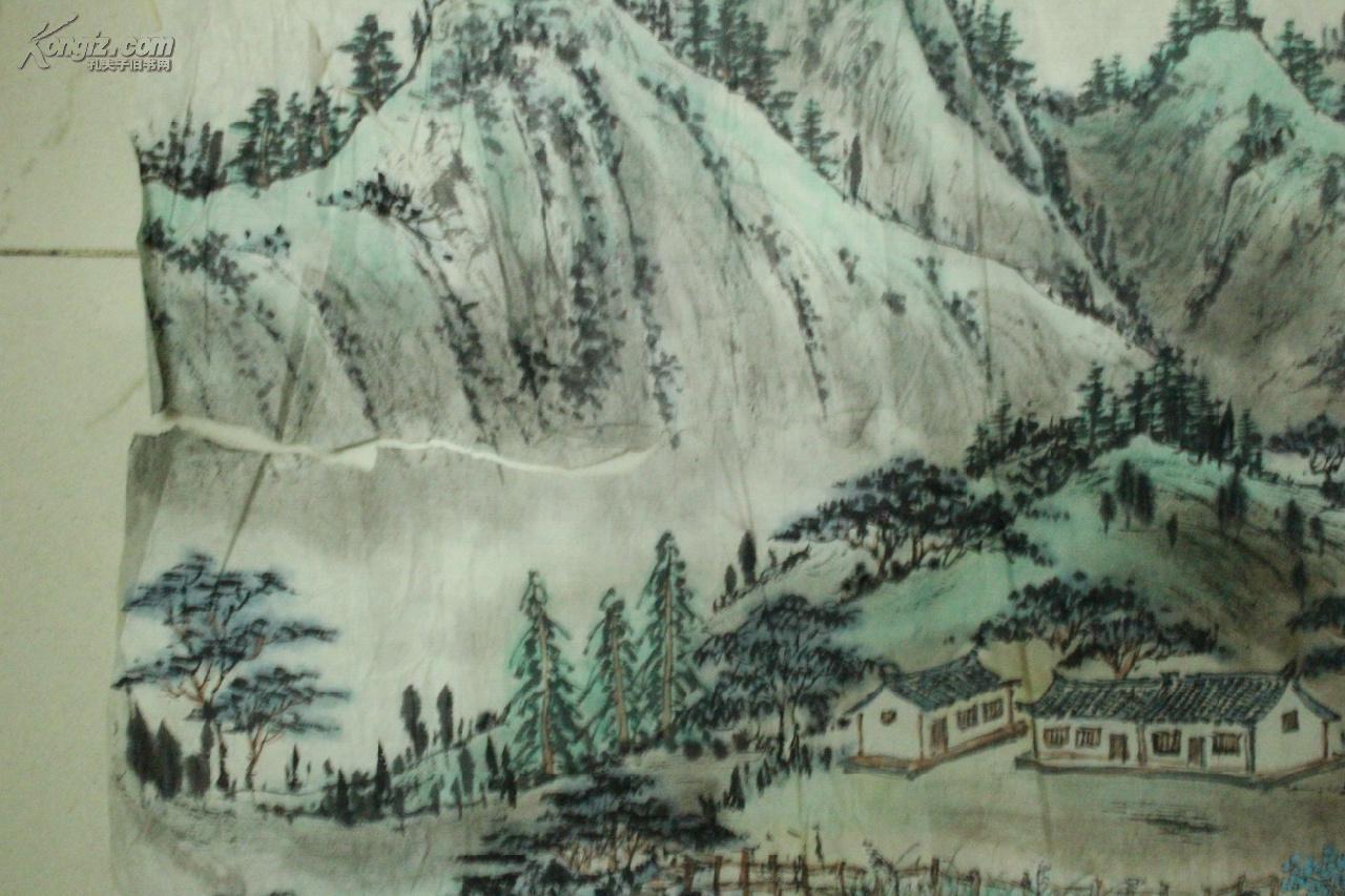 成都二手字画 国画手绘山水画 横幅软片图片