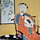 (名家字画):【胡永凯】,著名画家,人物写意,《 独宠 ......》...尺寸,68*68cm