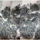(名家字画),【王镛】 ,中央 美术学院教授、中国美术家协会会员,写意,《 太行山 山水四条屏....》...,画心尺寸:(35厘米×137厘米×4)