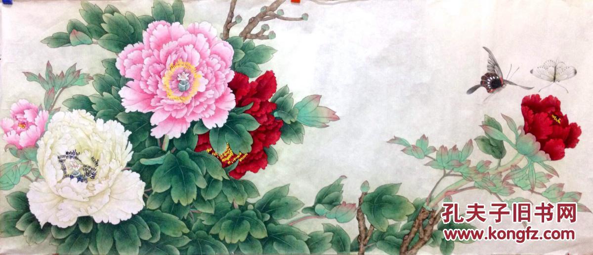 李晓明工笔画花鸟画总领群芳唯牡丹横幅图片