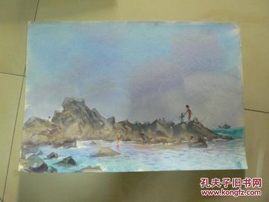 海滨即景之六(天津美术家协会会员许明友 80年代作品)