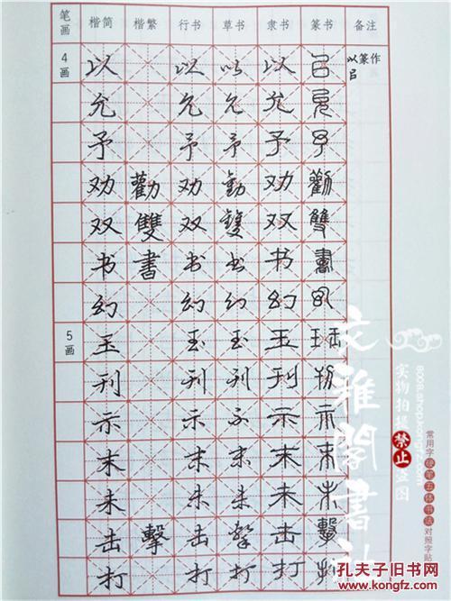 常用字硬笔五体书法对照字帖楷书隶书行书草书篆书书法临摹字贴图片