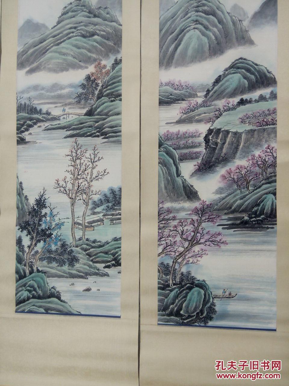 精裱绢包首 手绘 四扇屏山水画 长125宽158 拍品编号:19069869图片
