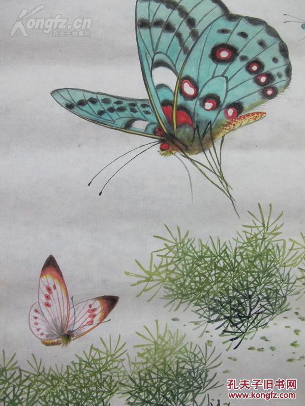 当代著名画家徐放工笔蝴蝶精品一幅(保真)
