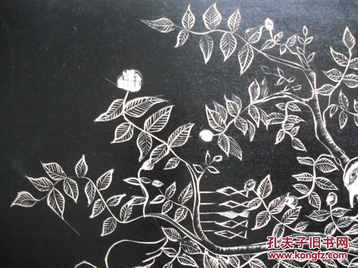 黑白木刻版画树叶分享展示图片