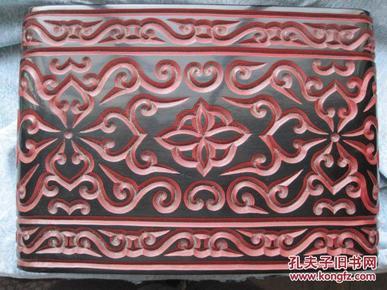 日本回流,木胎雕漆《剔犀书卷》保真包老