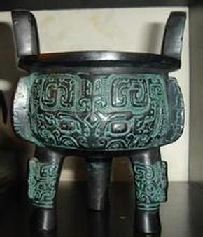 青铜器-宝鼎(高16cm*宽14cm*直径12cm)【1999年文物复制(西安)】