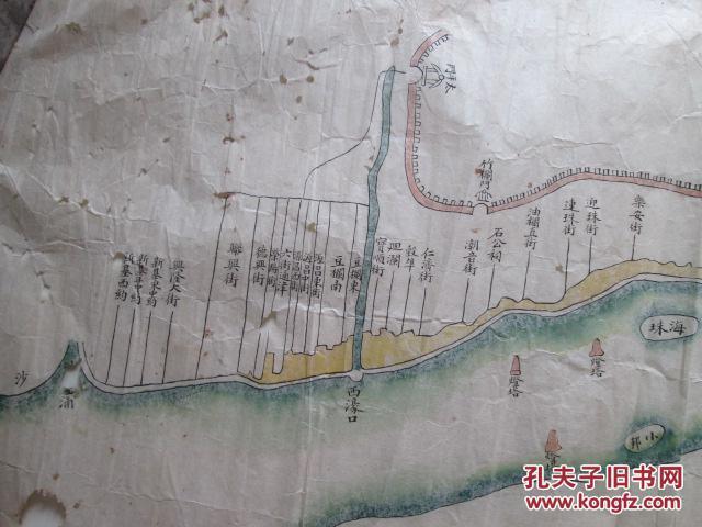 晚清手绘彩色广州大沙头,二沙头到沙面地图(95cm乘以55cm)(有林公庙