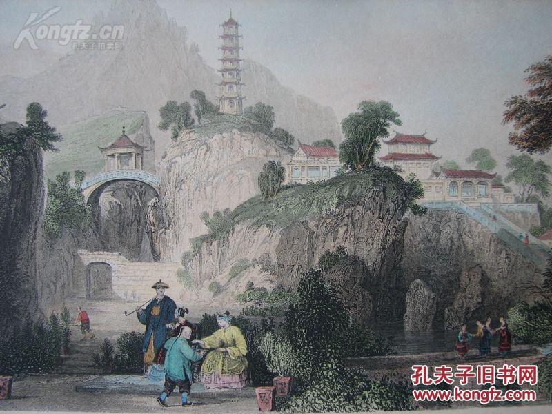 《帝国风景画之天堂行宫(虎丘山上的宫殿》---奥罗姆作品--手工上色
