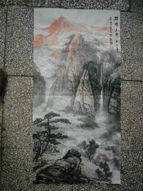 河南著名山水画家杜习文山水《群峰夕照》(保真,来自画家本人)图片