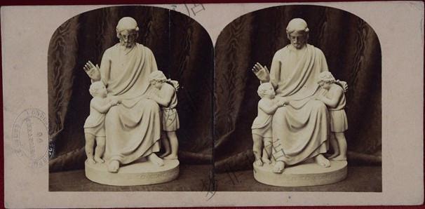 耶稣赐福小孩大理石雕塑 - 蛋白立体老照片