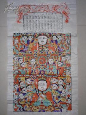1980年木版年画版画年历《灶王图》(3)