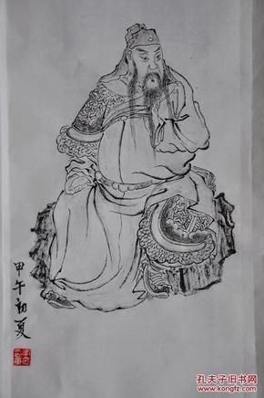 手绘关公像 关羽国画像 关公 国画人物 家庭办公装饰国画