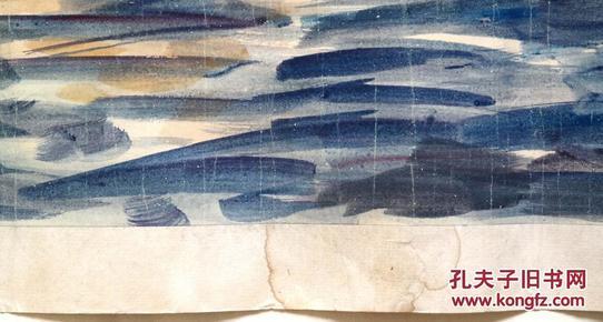 吴冠中《1985年绘水彩画●一帆风顺图》原托旧镜心◆近现代名人字画图片