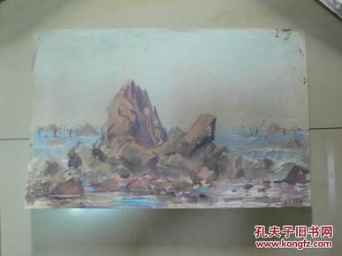 海滨即景之四(天津美术家协会会员许明友 80年代作品)