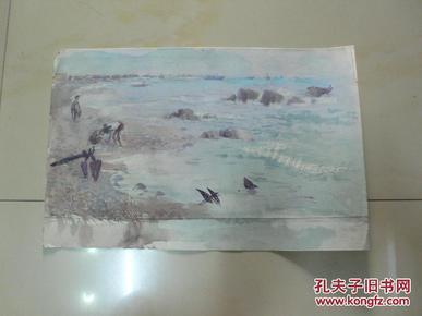 海滨即景之一(天津美术家协会会员许明友 80年代作品)