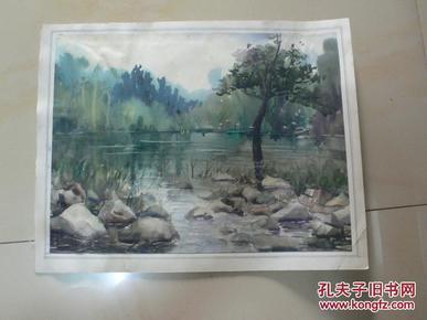 静谧湖林(天津美术家协会会员许明友 80年代作品)