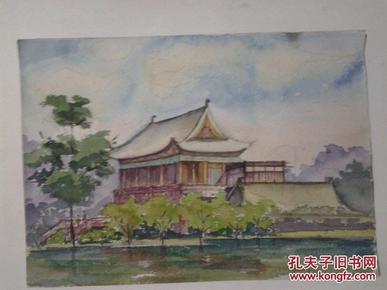 院流出 早期老水彩画 西安兴庆宫风景一页两幅图片