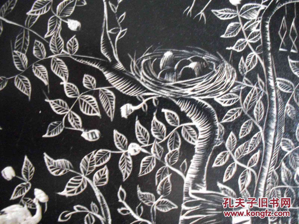 少儿黑白木刻版画小鱼分享展示