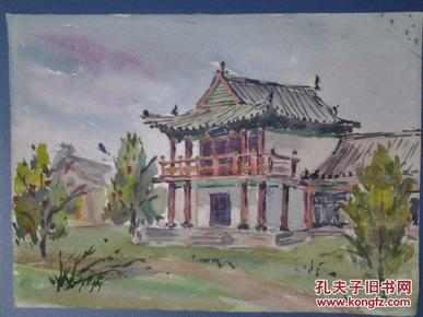 西安美院流出——--早期老水彩画(西安兴庆宫风景1