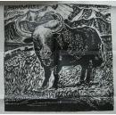 黑白版画【牛】画心40厘米X40厘米