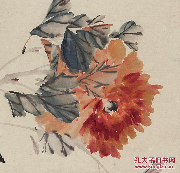 近现代-张书旗-牡丹双鸟图轴82x46(图4)