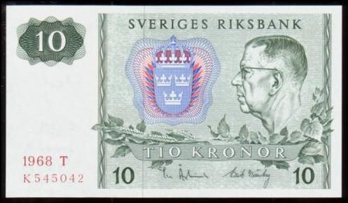瑞典10克朗(1968年版瑞典银行成立300周年纪念钞)
