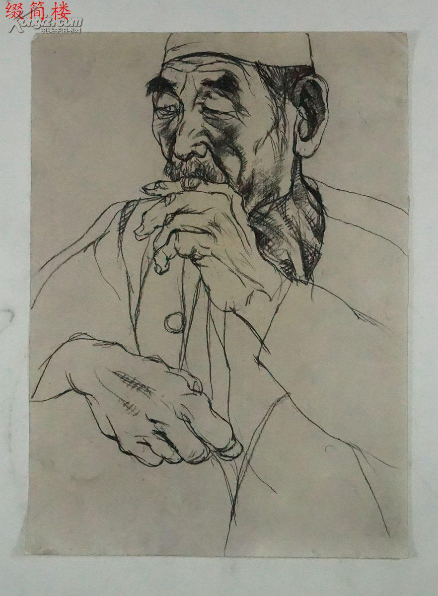 JVZD150114109金鸿钧之子 当代著名工笔画家 金瑞 1973 人物速写一幅 尺寸27 20cm