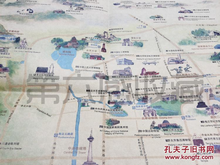 2014北京文化旅游景点导览图 仿古纸张 景点实图 手绘景点地图