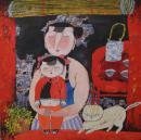 (名家字画):胡永凯,著名画家,人物写意,《 独宠 ......》...尺寸,68*68cm