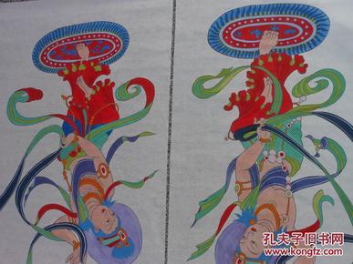 名人字画;敦煌舞女一幅工笔重彩秦楠作132厘米*66厘米图片