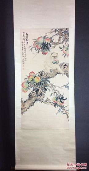 海派画家邓怀农猴子献寿图国画真迹-国画 名人字画