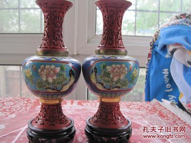 日本回流精品《铜胎景泰蓝,雕漆花瓶》一对非常少见