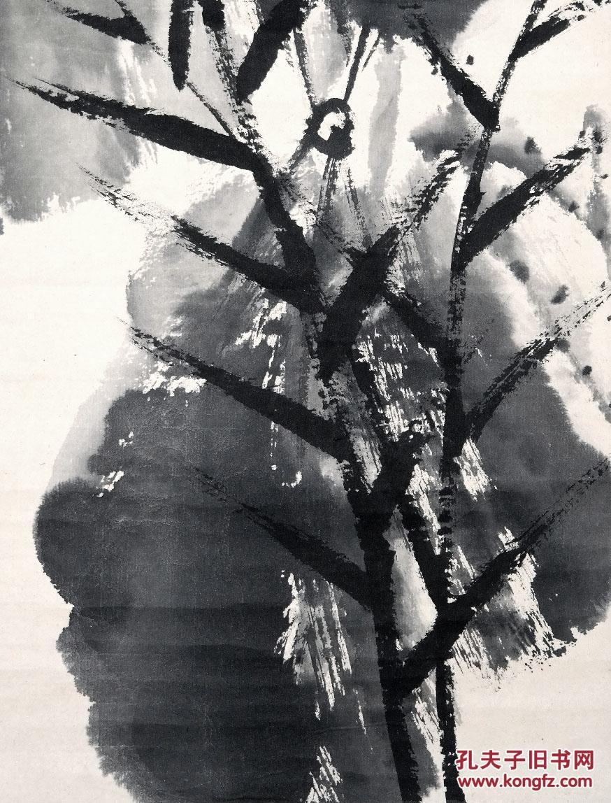 已故北京中国画院著名书画家 汪慎生 小写意花鸟画 翠鸟荷花图 细绫旧裱立轴 近现代 京津画派 手绘名人旧字画