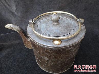 清代祁益大款双铜提梁双铜乳丁包铜流口锡壶