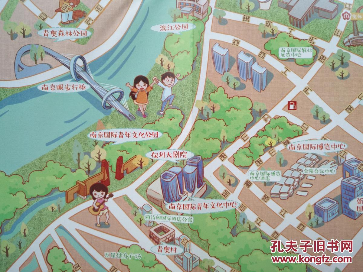 南京市建邺区手绘地图 建邺区地图 建邺地图 南京地图